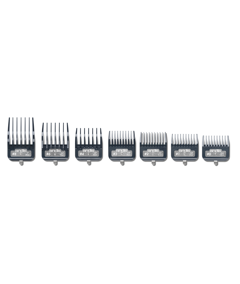 Set aus hochwertigen Andis-Kunststoffkämmen mit einem Master Premium-Metallclip 2